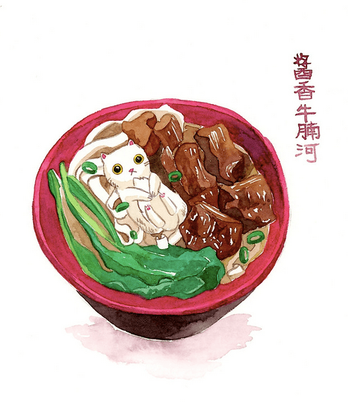 drawing of a cat as ramen