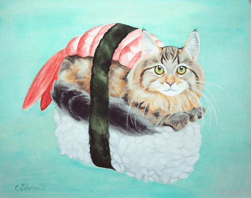 10 Drawings Of Cats As Our Favorite Foods
