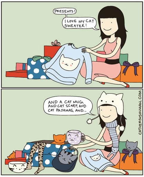 Comic of a woman getting cat gifts