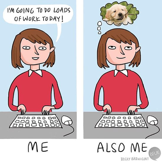 thinking about your pet at work comic