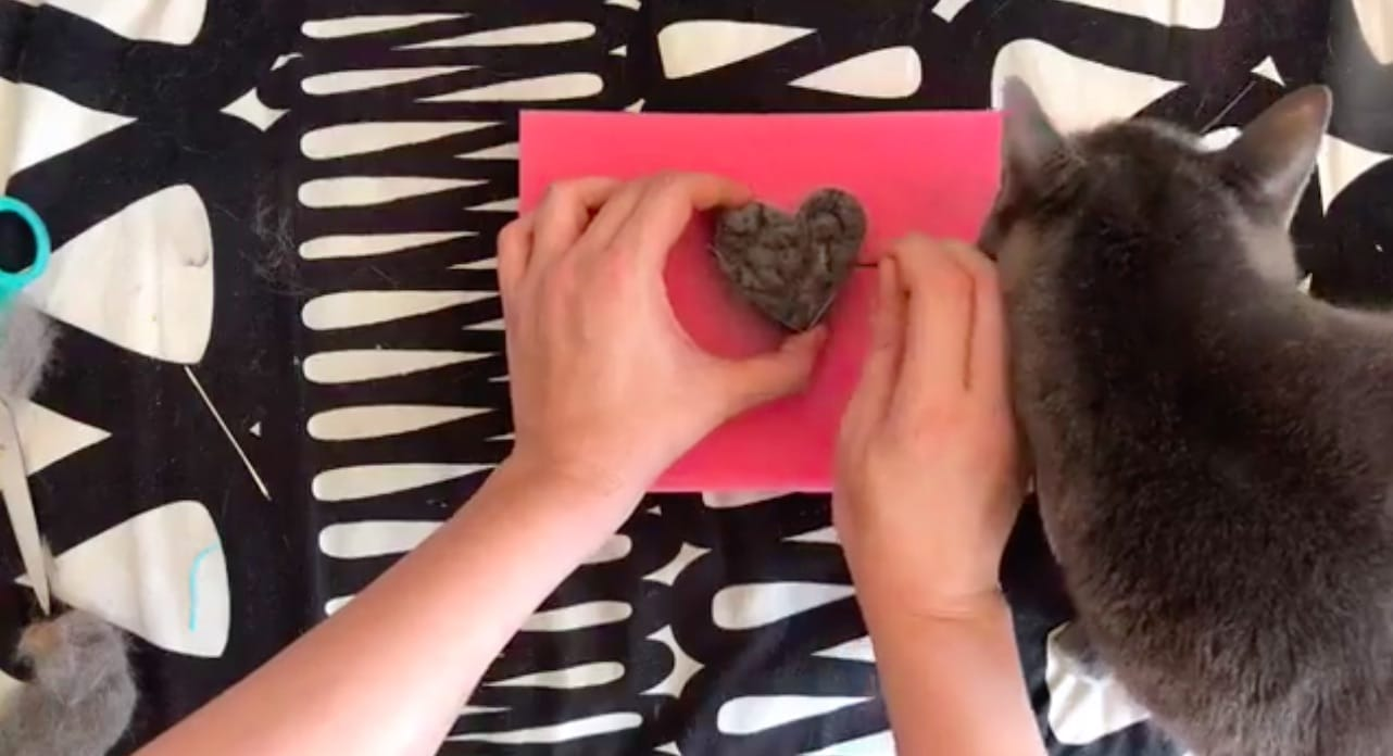 felting cat hair