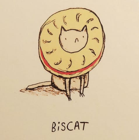 drawing of cat as a cookie