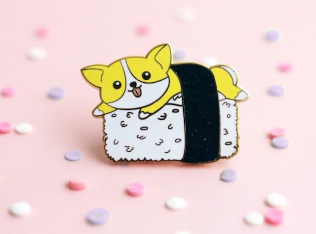 dog christmas present corgi pin